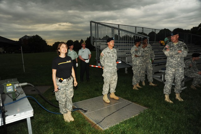 Soldiers rehearse for start of Twilight Tattoo on May 5