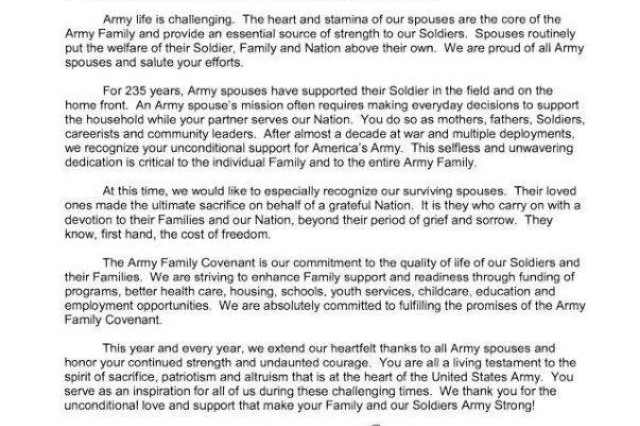 2010 Military Spouse Appreciation Day Message from Army's senior leaders.