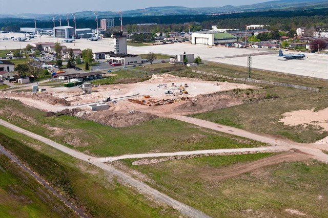 The U.S. Army Corps of Engineers is managing construction of the new $3 million fire training facility on Ramstein Air Base in Germany, which will provide realistic training via a mock aircraft to the U.S. Air Force's in Europe Fire Training School.