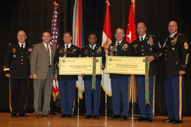 Officials from Installation Management Command, Fort Bragg and Fort Campbell pose with award checks at the 2010 Chief of Staff of the Army Communities of Excellence Awards ceremony held Tuesday at the Pentagon.
