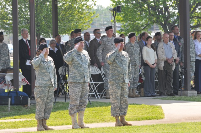 Lt. Gen. Rick Lynch, commanding general of U.S. Army Installation Management Command, hosts the change of command ceremony at McBride Field on Aberdeen Proving Ground - South, where Col. Scott D. Kimmell assumed command of the U.S. Army Environmental Command from Col. Maria R. Gervais.""