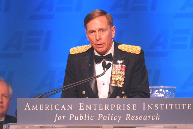 Gen. David H. Petraeus, commander of U.S. Central Command, gives the keynote speech for the American Enterprise Institute for Public Policy Research annual dinner and gala May 6, 2010, at the National Building Museum in Washington, D.C. Petraeus received the Irving Kristol Award, the institute's top honor, which recognized intellectual and practical contributions to government policy, social welfare or political understanding.