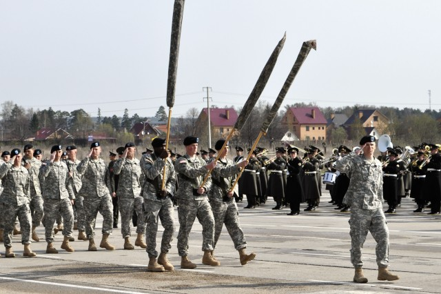 Soldiers from U.S. Army Europe's Company C, 2nd Battalion, 18th Infantry Regiment, 170th Infantry Brigade Combat Team, rehearse for Russia's May 9, Victory Day parade at a Russian army base near Moscow, May 1. The 75-Soldier, Baumholder, Germany-based company is the first active-duty U.S. Army unit, carrying the American flag and representing the United States, to march in Russia's commemoration of the end of World War II.