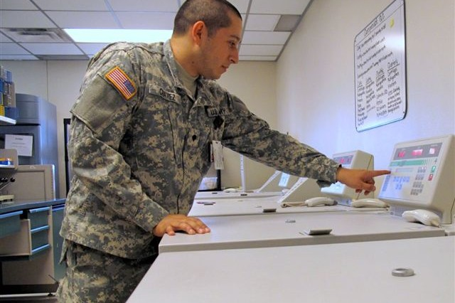 Spec. Jose Chavez checks on a centrifuge at the Robertson Blood Center at Fort Hood, Texas on April 13, 2010.""