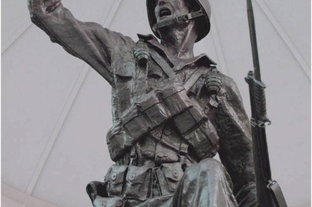 The original Follow Me statue sits in the rotunda outside the National Infantry Museum.