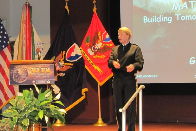 Gen. Ann E. Dunwoody, commander of the Army Materiel Command, talks about AMC's view of the Materiel Enterprise and its impact on an uptempo and changing Army during the Worldwide Logistics Training Workshop on April 26, at Bob Jones Auditorium. She is the first four-star general to speak at the annual week-long conference hosted by AMC's Logistics Support Activity.