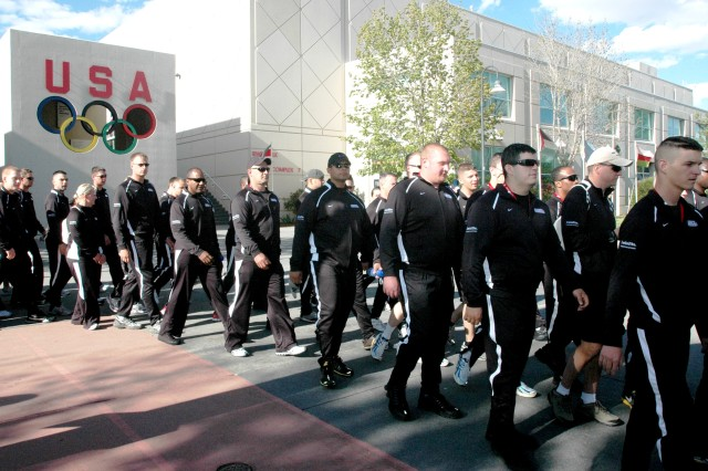 Wounded Soldiers from units throughout the Army take part in a procession of military servicemembers, marking the opening ceremony of the inaugural Wounded Warrior Games May 10, at the Olympic Training Center, Colorado Springs, Colo.