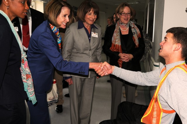 Speaker of the House Nancy Pelosi and fellow congresswomen visited with injured servicemembers during their May 10 visit to Landstuhl Regional Medical Center, Germany.