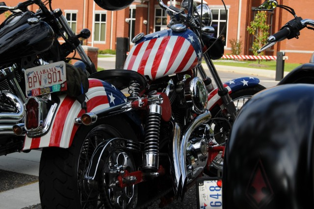 Motorcycles sit in front of the U.S. Army Aviation Center of Excellence Headuqarters Building May 10 just prior to the start of a ride to Panama Beach, Fla., as part of Motorcycle Safety Awareness Month activities at Fort Rucker.