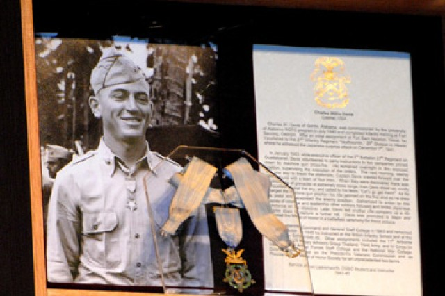 Col. Charles W. Davis' Medal of Honor is on display in his Hall of Fame shadowbox at the Lewis and Clark Center, Fort Leavenworth, Kan. Davis, who attended the Command and General Staff College in 1943 and later taught there, was inducted into the Hall of Fame May 11 in a ceremony with his son, J. Kirk Davis, representing the Davis family.