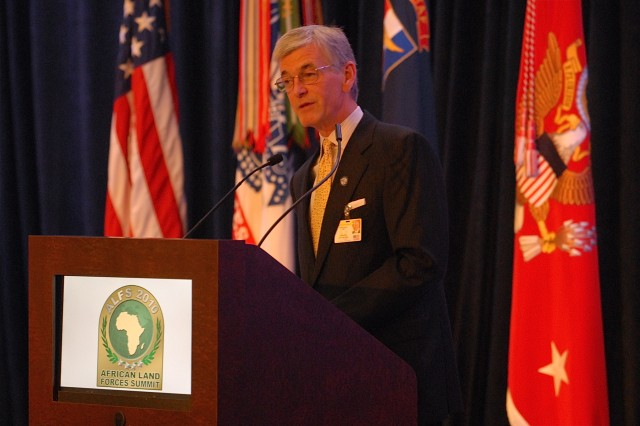 Secretary of the Army John M. McHugh speaks to delegates and staff during African Land Forces Summit closing ceremony, May 14