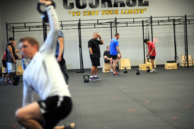 Soldiers train in McVeigh Sports and Fitness Center's new CrossFit room.