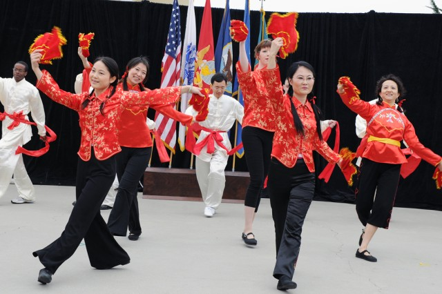 PRESIDIO OF MONTEREY, Calif. - The DLI Chinese School team performs a traditional folk dance for California students attending Language Day May 14.