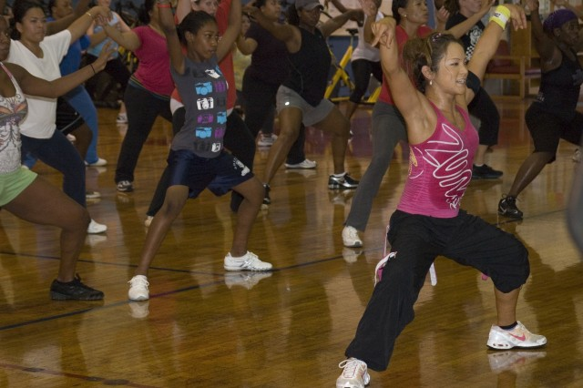 SCHOFIELD BARRACKS, Hawaii - Shinobu Yagi-Robinson, one of the fitness class instructors at the Health and Fitness Center, here, leads a popular zumba class, an intense cardiovascular exercise that raises participants' heart rates for extended periods of time.