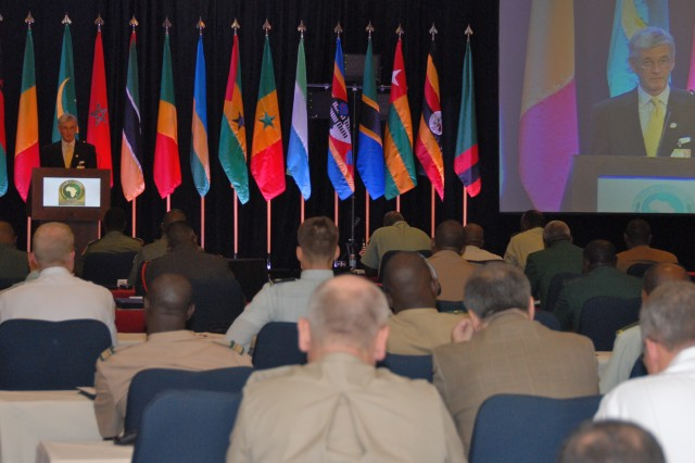 Secretary of the Army John McHugh delivers the closing address at the African Land Forces Summit.