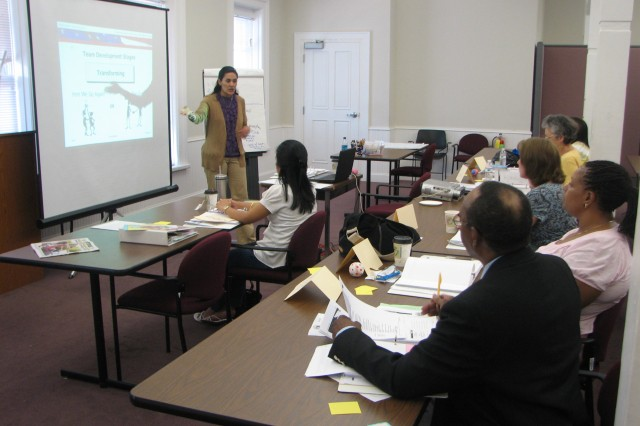 Cynthia Giesecke, Army Family Team Building/Army Family Action plan specialist, instructs students May 7 at the AFTB Level 2 class at Army Community Services. The class helps people grow in their role as military dependents by focusing on life building skills.