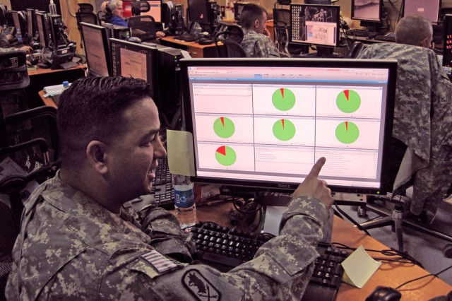 CW4 Patrick Quenga, network security engineer and information assurance officer for the Joint Network Control Center-Afghanistan, remotely monitors Host Based Security System (HBSS) activity on MC4 systems operating on the Afghanistan enterprise network.