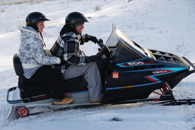 WESTCLIFFE, Colo.---Snowmobiling is one of the activities wounded Soldiers enjoy at Eagles Summit Ranch.