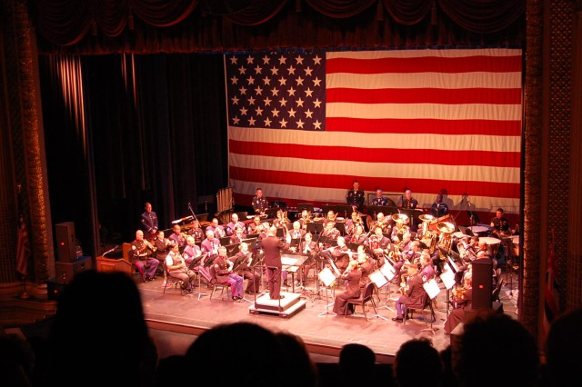 Musicians from the Army, Navy, Air Force, Marines, Coast Guard, and the Hawaii Army National Guard perform a combined military band concert on Armed Forces Day, May 15, at the Hawaii Theatre, Honolulu. (U.S. Army photo by Staff Sgt. Tim Meyer, 25th Inf. Div. Public Affairs.)