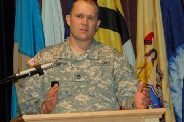 "Guest speaker, Sgt. 1st Class Aaron L. Beckman, the U.S. Army's 2009 Soldier of the Year, welcomed the inductees into the NCO ranks and urged them to be ""adaptive leaders."""