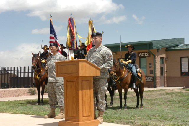 FORT CARON, Colo.---Col. Robert F. McLaughlin, garrison commander, addresses the attendees at the groundbreaking ceremony for the 4th Infantry Division and Fort Carson Museum Activity April 30.