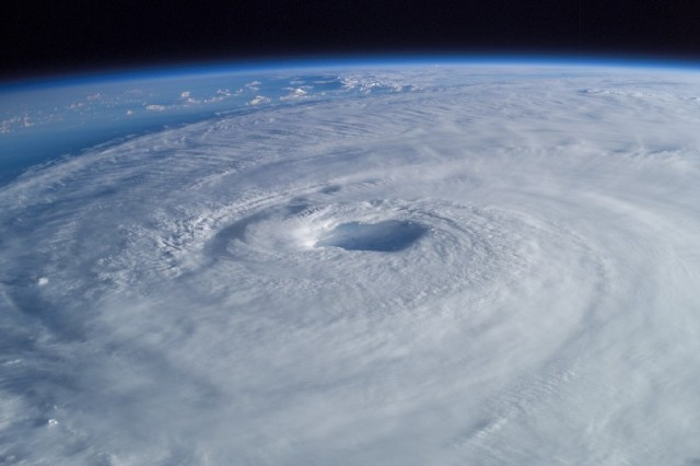 In this picture taken from the International Space Station, Hurricane Isabel spins off the eastern seaboard of the United States on Sept. 17, 2003.