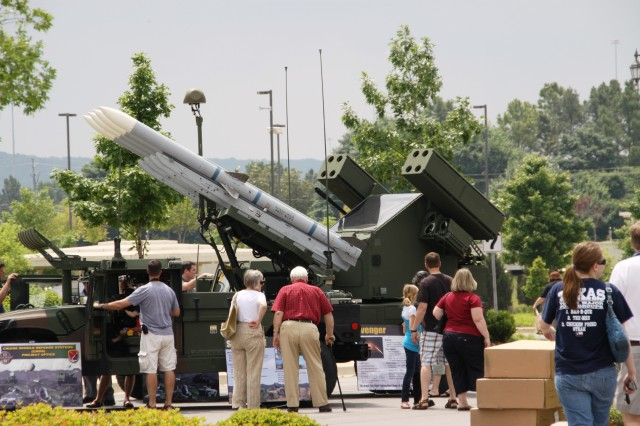 "The Program Executive Office for Missiles and Space's Surfaced-Launched Advanced Medium Range Air-to-Air Missile, commonly referred to as the SLAMRAAM, was a popular draw during ""Behind the Gates of Redstone Arsenal"" at Bridge Street Town Centre on May 15."