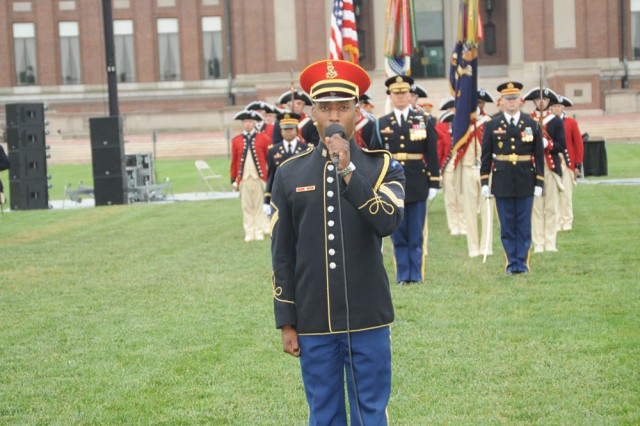 SSG Andre McRae from The U.S. Army Chorus sings the National Anthem at the May 19, 2010, Twilight Tattoo.