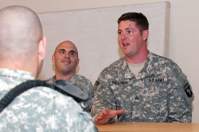 Retired Sgt. Noah Galloway, who lost an arm and a leg to a roadside bomb in 2005, tells paratroopers with 1st Brigade, 82nd Airborne Division (Advise and Assist), based at Camp Ramadi, Iraq, that his young children inspire him to get on with his life. Galloway is one of 10 wounded warriors who visited Camp Ramadi, May 10, 2010.