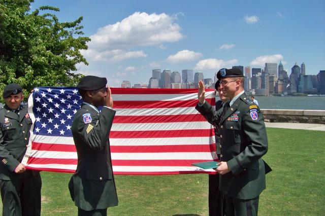 Sgt. Tashane Vann re-enlists May 8 on Ellis Island.