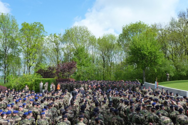 More than 1,200 reservists from France, Switzerland, Germany and the United States, and citizens of Colombey-les-Deux-Eglises attend the National Day of the Reserves at a ceremony in France May 9.