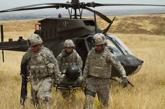 Soldiers from the 3rd Squadron, 7th Cavalry Regiment, 2nd Heavy Brigade Combat Team, 3rd Infantry Division, rescue a helicopter pilot during a joint training exercise with Soldiers from the 2nd Battalion, 159th Aviation Regiment, 12th Combat Aviation Brigade, Illesheim Army Airfield, Germany, at Contingency Operating Site Marez.