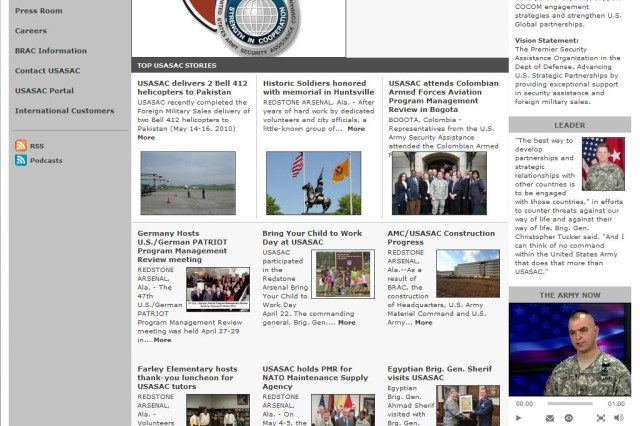 Screenshot of the redesigned USASAC homepage.