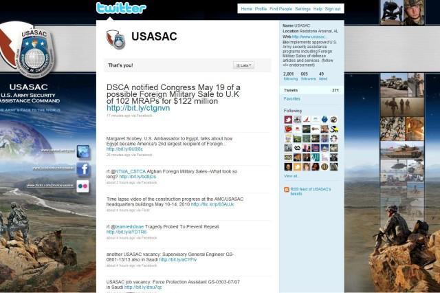 Screenshot of USASAC's Twitter page.
