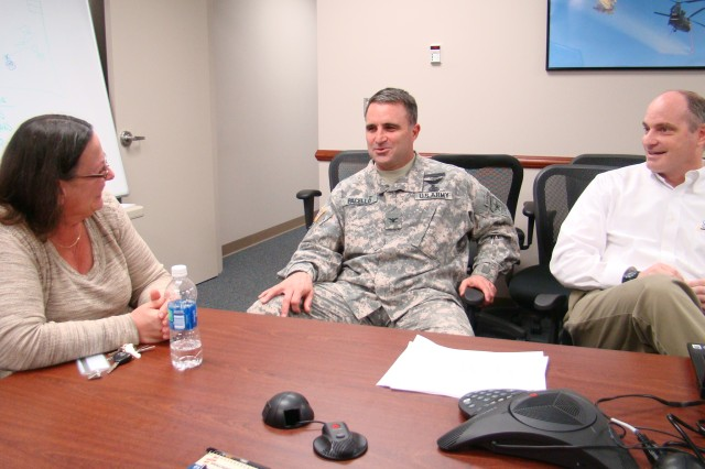 Col. Scott Pacello opens discussion with his ALLFIND staff to prepare for the Joint Warfighter Advisory Group in June. The Aviation Low Level Friendly Identification and Networked Distribution program will develop new tactics, techniques and procedures for deconflicting low altitude airspace.