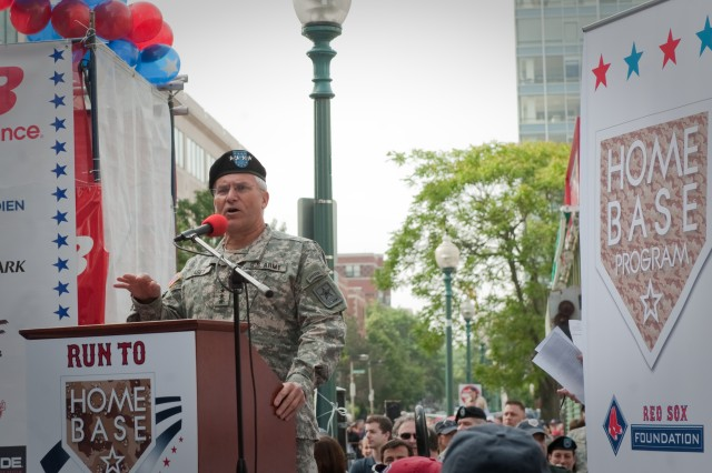 Chief of Staff of the Army, Gen. George W. Casey Jr., gives the keynote address for the first annual Run to Home Base 9K run in Boston, Mass., May 23, 2010.  Over 2,000 runners ran and raised 2.4 million dollars to support the Home Base program that helps veterans returning from Iraq and Afghanistan who are suffering from Post-Traumatic Stress Syndrome (PTSD) and Traumatic Brain Injuries (TBIs).