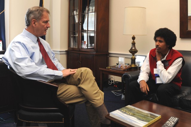 Rep. William Owens, of New York's 23rd Congressional District, met with Alex, an Army Teen Panel member representing Fort Drum, N.Y. The two talked of Alex's family and their nine location moves during his father's 24 years of service and his dreams for the future.