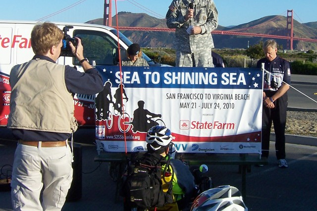 Army (Capt.) Chaplain Steve Blackwell provided the invocation at the opening ceremony for the 2010 Sea to Shining Sea Bike Ride May 22 in San Francisco.  The multi-service bicycle ride is sponsored by World T.E.A.M. Sports-a non-profit group, whose purpose is to raise awareness of wounded warriors. The ride is scheduled to end July 24 in Virginia Beach, Va. For more information, to volunteer, participate in a stage of the ride, or to see updates about the rider's progress, visit http://s2ssbikeride.org.