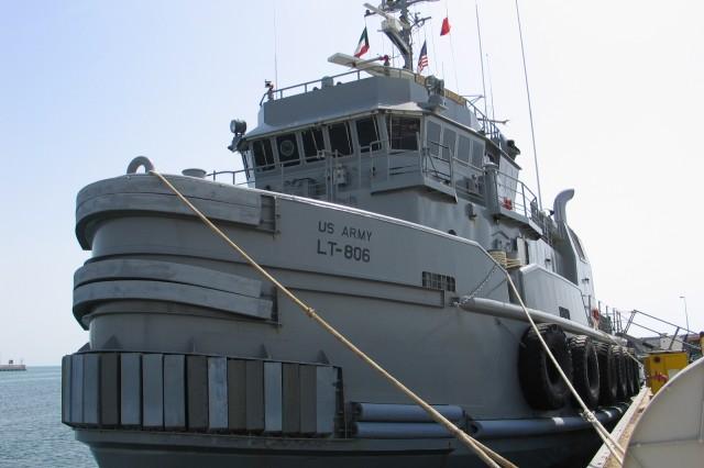 United States Army Vessel Col. Seth Warner (LT-806) moored in port at Kuwait Naval Base, Kuwait.