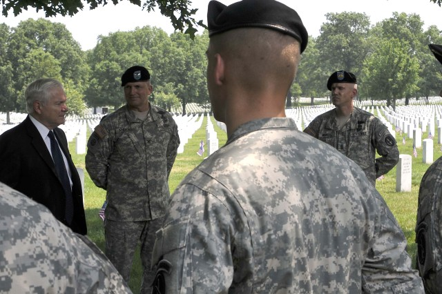 The Secretary of Defense, Hon. Robert Gates, visited with Soldiers from the 3rd U.S. Infantry Regiment (The Old Guard) on May 27th in Arlington National Cemetery.  He presented 44 Soldiers with coins and thanked them for their service, and for honoring our nations fallen.