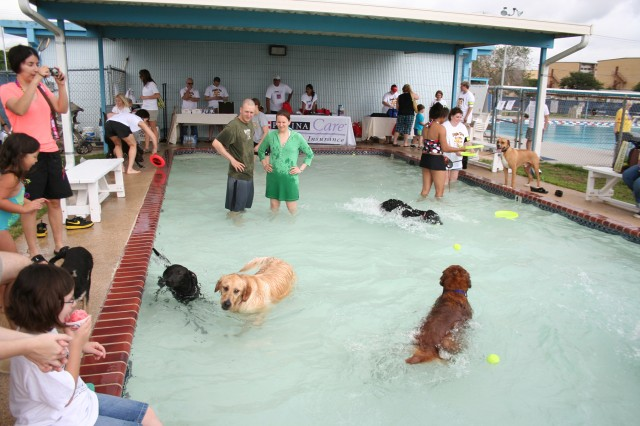 All shapes, sizes, colors and breeds of two- and four-legged critters cooled off at the Fort Sam Houston Aquatic Center May 22 during the Doggie Dip.