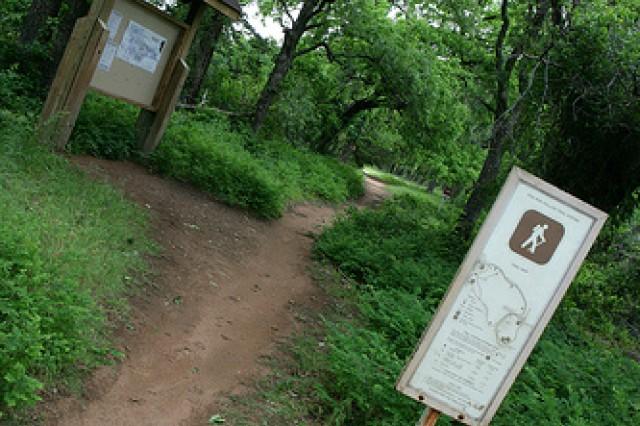 One of the many hiking trails at the Wichita Mountains Wildlife Refuge leads to an adventure into the wilderness. Nick Plata, refuge tour guide, suggests people using hiking trails wear pants and boots for protection against the terrain.