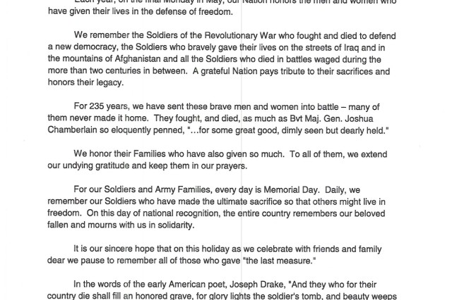 Senior Army Leader Memorial Day message