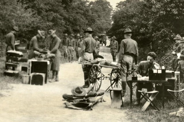 Medical Training: Medical Field Service School training . Image shows medical troops training with Soldiers on stretchers. (Carlisle Barracks Collection).