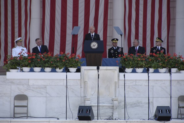 Vice President Joe Biden delivers the keynote address at the May 31 Memorial Day ceremony at the amphitheater in Arlington National Cemetery.