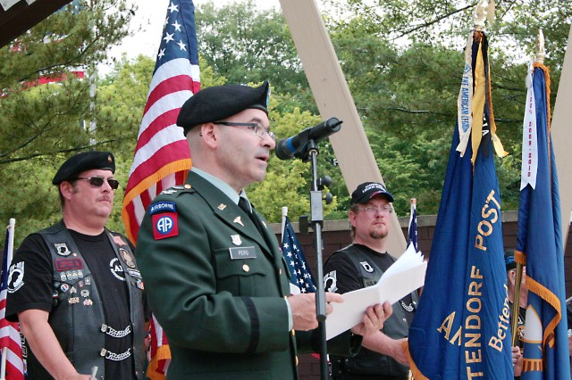 Col. (Dr.) Robert Pero, command surgeon, Army Sustainment Command, Rock Island Arsenal, Ill., delivers the keynote speech during a Memorial Day ceremony May 31 at the Bettendorf (Iowa) Veterans Memorial Park. Pero, along with Bettendorf Mayor Michael Freemire, also placed the traditional remembrance wreath to close the ceremony.