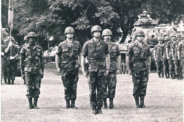 Moving up through the ranks, then-Maj. Campbell takes his place in front of the battalion he commanded in 1981.