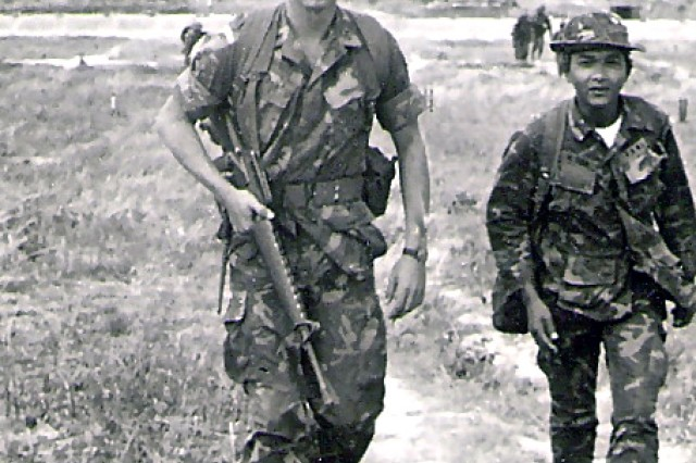 Commander of a Special Operations A-Detachment in Vietnam, then 2nd Lt. Charles C. Campbell sets out on a mission in Vietnam in 1971. Campbell, current U.S. Army Forces Command commanding general, is the last continuously serving officer to have seen action in Vietnam. His career, which spanned 40 years, will end Thursday, when he retires.