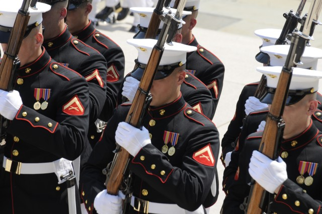 A platoon of United States Marine Corps Honor Guard members participate in a wreath laying ceremony at the Tomb of the Unknowns at Arlington National Cemetery on Memorial Day. (Photo by Staff Sgt. Adora Gonzalez)