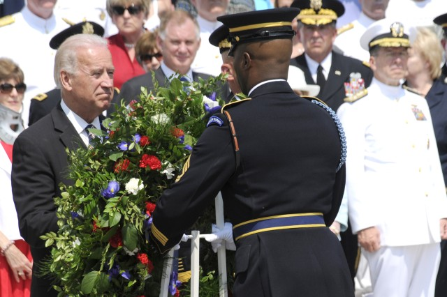Vice President of the United States, Honorable Joe Biden lays a wreath at the Tomb of the Unknown Soldier in Arlington National Cemetery on Memorial Day. (Photo by Staff Sgt. Adora Gonzalez)